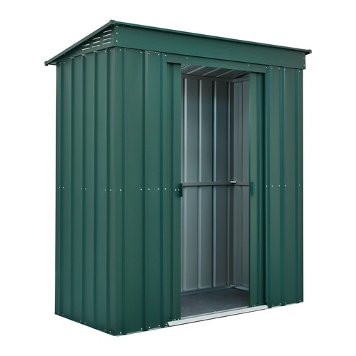 Lotus 6x3 Pent Metal Shed - Heritage Green Solid