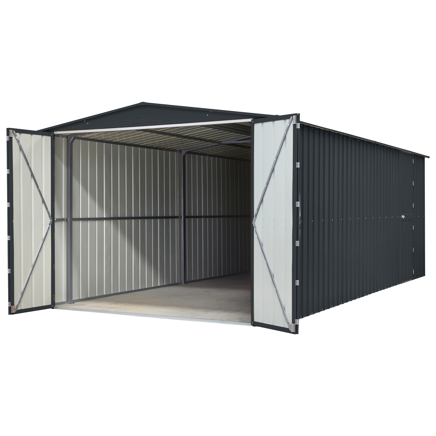 Lotus 10x23 Metal Double Hinged Metal Garage -Anthracite Grey