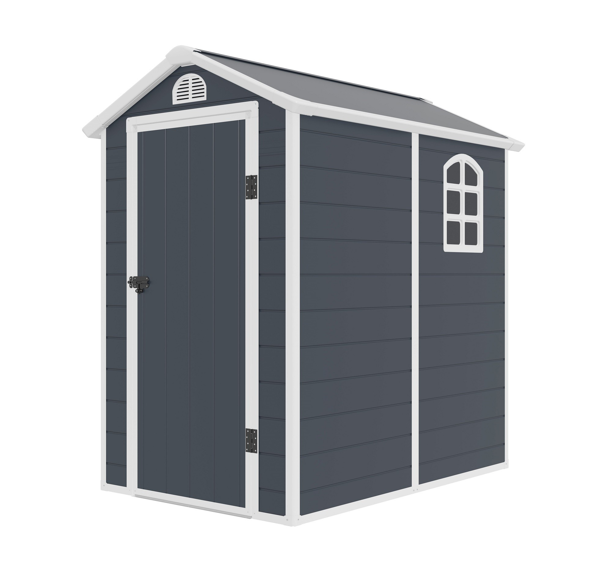 Jasmine 4ft x 6ft Plastic Apex Shed - Dark Grey with Foundation Kit (included)